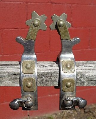 Antique Stainless Steel Nickle Mounted RENALDE Western Cowboy Spurs