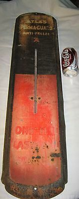 Antique Atlas Usa Perma Guard Metal Anti Freeze Gas Oil Station Thermometer Sign