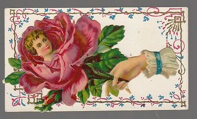 [64035] Die-Cut Paper Calling Card Of Woman's Head In Rose
