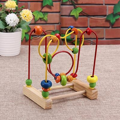 Educational Wooden Toys Baby Kids Math Game Colorful Mini Around Beads Wire Maze