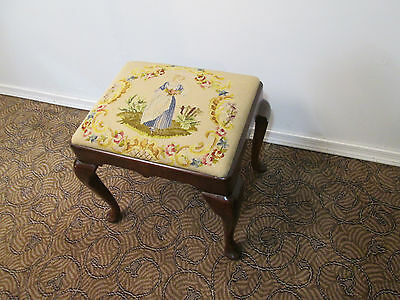 57772  Antique Needlepoint Footstool Bench Stool