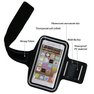 Black & Purple Sports Gym Armband Running Jogging Case Cover Holder For iPhone 7