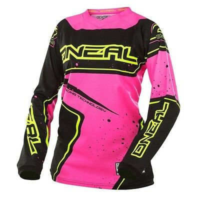 Oneal 2017 Element Racewear Jersey Dirt Bike Clothing Top Womens Blk/pink/yellow