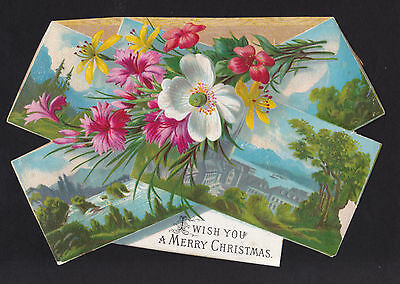 c.1890 flower bouquet town view christmas victorian greeting card