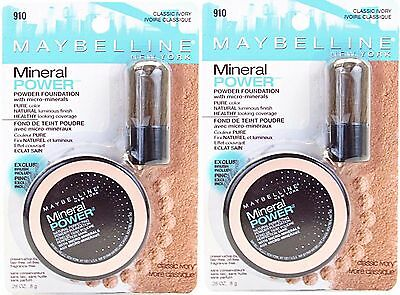 2 Maybelline Mineral Power Powder Foundation #910 Classic Ivory -New