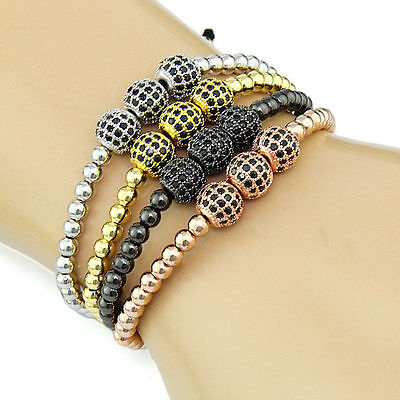 2018 Men's Gold Plated 3& 8mm Micro Pave CZ 4mm Beads Braided Macrame Bracelet