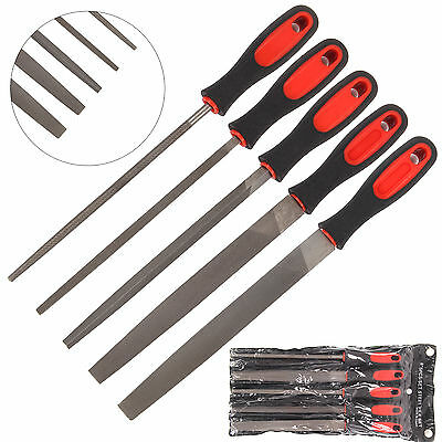 "New 5Pc 8"" 200mm Soft Grip Assorted Engineer Metal File Set for Metal Round Flat"