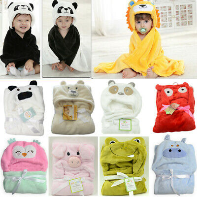 Soft Cartoon Baby Kids Animal Hooded Bath Towel Toddler Blanket Bathrobe Wrap