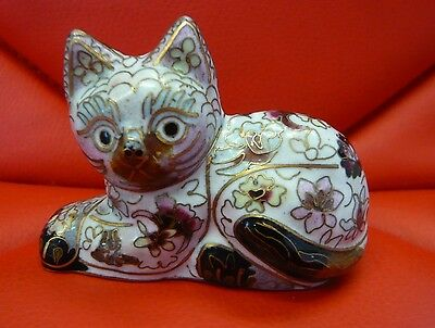 Vintage Chinese Cloisonne Figure Of A Sitting Cat With Crossed Paws
