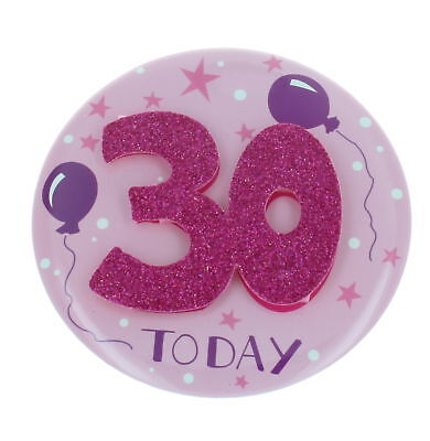 Age 30 Female Giant Birthday Party Mega Badge 14.5cm x 14.5cm - 30th Birthday