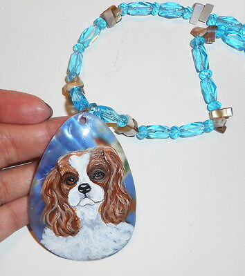 Cavalier King Charles Spaniel dog Beaded Necklace Hand Painted Shell Pendant