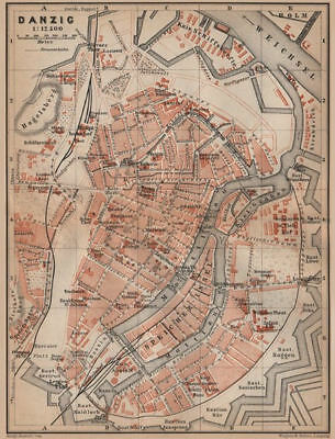 GDANSK antique town city plan miasta. Gda?sk Danzig. Poland mapa 1900 old