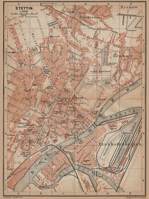 STETTIN SZCZECIN antique town city plan miasta. Poland mapa. BAEDEKER 1900