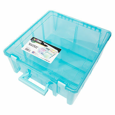 Artist's Large Tool Box Blue Plastic Deep Carry Case Art Pencil Storage Caddy