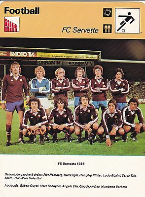FOOTBALL carte  fiche photo  équipe du FC SERVETTE 1978