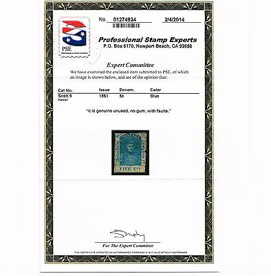 Genuine Hawaii Scott #9 Pse Mint Cert 1891 Blue Scv $400 Dealer Estate Close-Out