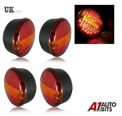 2 Pairs 24v Rear Led Lights Stop Tail Indicator Daf Man Scania Volvo 4 Function
