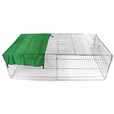 Metal Run Rabbit Guinea Pig Chicken Duck Ferret Dog Cat Pet Enclosure Roof Hutch