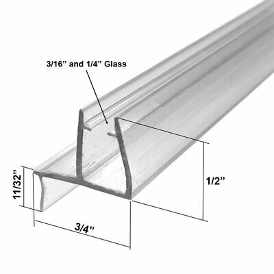 """Clear Shower Door Bottom Sweep with Drip Rail for 3/16"""" Glass - 35 in long"""