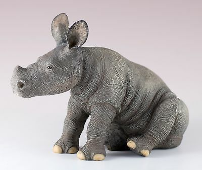 "Sitting Baby Rhinoceros Figurine 6"" Long Highly Detailed Polystone New In Box"