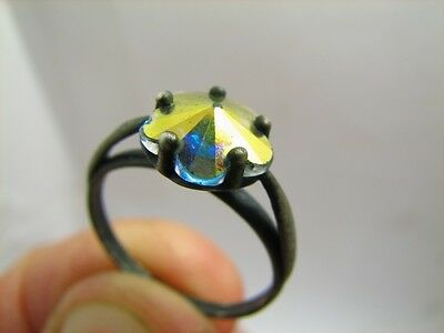 VERY NICE VINTAGE STERLING SILVER ORNAMENTED RING with STONE #5963