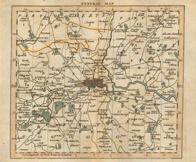 LONDON 15 miles around London - General index map CARY 1786 old antique