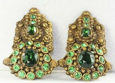 Pair Of Vintage Antique 1920's Art Deco Gold Over Brass Green Glass Dress Clips