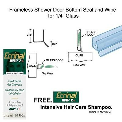 """Shower Door Dual Durometer PVC Seal & Wipe for 1/4"""" Glass - 32"""" long w/ Shampoo"""
