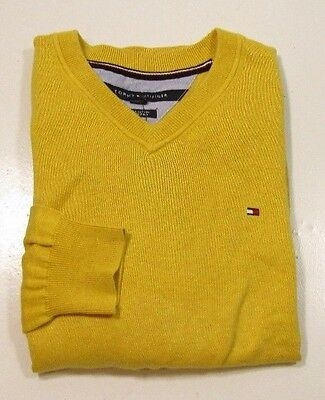 Tommy Hilfiger Men's Gold L/S Pull Over V-Neck Pima Cotton Sweater