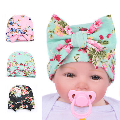 Newborn Baby Girls Infant Toddler Bowknot Hospital Cap Cotton Floral Beanie Hat