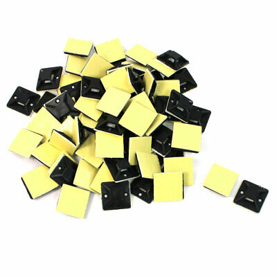 100 Pcs Black Plastic Self Adhesive Cable Tie Mount Base Holder