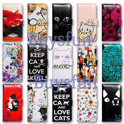 Bcov Cute White Black Cat Flower Wallet Leather Cover Case For iPhone 7 6 Plus 5