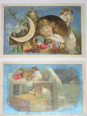 Antique Victorian Xmas Greeting Trade Cards~Woolson Spice Lion Coffee~Dream Girl