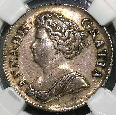 1714 NGC XF 45 Queen Anne Silver Shilling GREAT BRITAIN Coin POP 3/1 (16110807C)