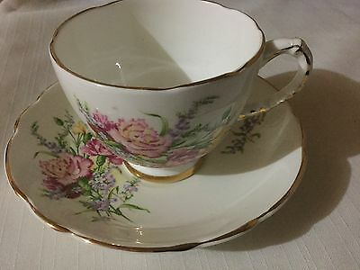 Royal Trent Bone China Cup And Saucer England   Carnations