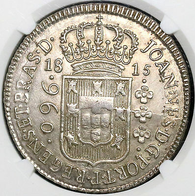 1815-B NGC UNC BRAZIL Large Silver 960 Reis over 8 Reales Coin (16110812C)