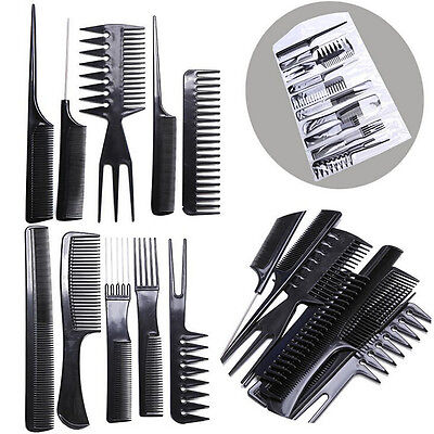 10Pcs Salon Hair Combs Styling Hairdressing Hairdresser Barber Set Black Great