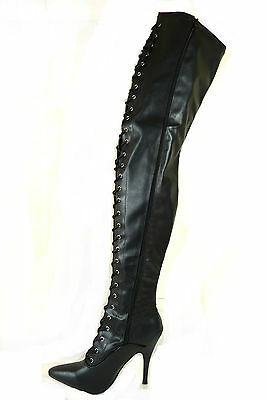 Ladies Womens Boots Matt Black Laced Stiletto Thigh High Length Over Knee S3-8
