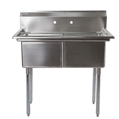 Commercial Stainless 2 Compartment Sink 18x18x12 NSF