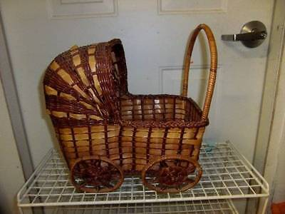 Vintage Wicker Large Doll Baby Buggy or Home Decor