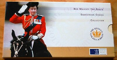 Royal Mint Golden Jubilee 2002 Equestrian Crown Coin Collection 1953 1977 2002 #