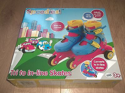 Speedies! Tri To In-Line Skates For Kids - Size 10-13 Age 3+ (Brand New In Box)
