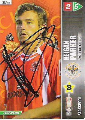 A Panini 2008 card. Featuring & personally signed by Keigan Parker of Blackpool.