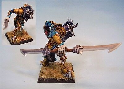 Confrontation painted miniature Wolfen with two blade sword