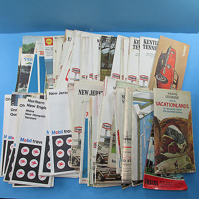 77 USA Canada Travel state Maps Gas Station Advertising 1960s 2004 Mobil Shell