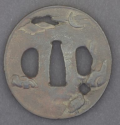 17-19thC ANTIQUE EDO PERIOD JAPANESE SWORDSMITHS IRON TSUBA - *SIGNED* TURTLE