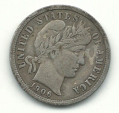 A Very Fine 1906 P Barber Silver Dime-Old Us Coin-Apr330