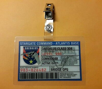 Stargate Command Atlantis ID Badge - Commander Bridge Ops cosplay costume prop