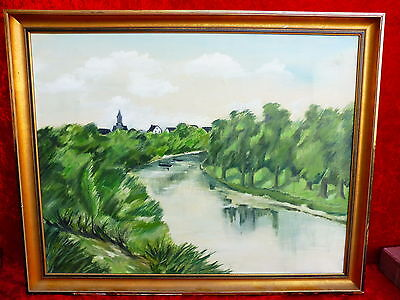 Pretty, old painting __ RIVER LANDSCAPE__Signed__