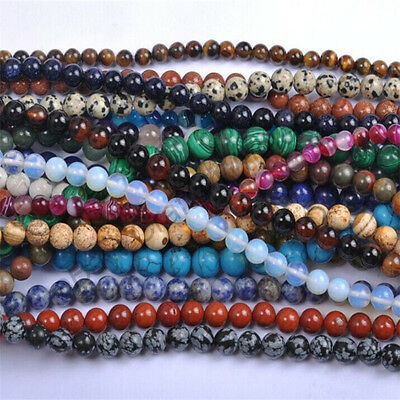Lot Natural Stone Gemstone Round Spacer Charm Loose Beads Craft 4MM 6MM 8MM 10MM